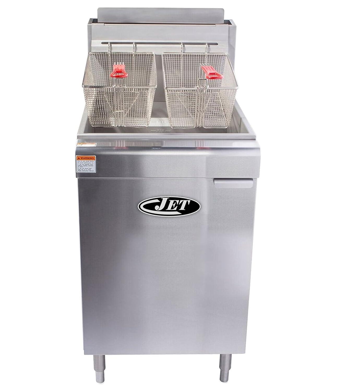 Jet JFF5-70N Commercial Stainless Steel 70lb 5 Tube Floor Gas Deep Fryer 150,000 BTU per Hr Natural Gas, 70 Pound Capacity, Metallic