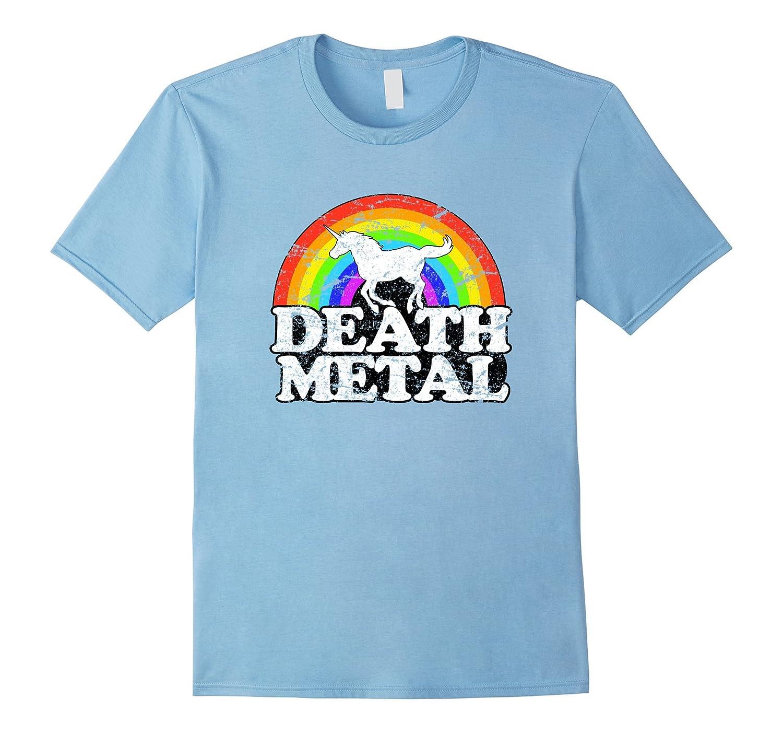 Unicorn Death Metal T Shirt   Funny Rainbow Tee-Teehay
