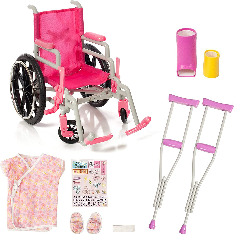"18/"" Doll WHEELCHAIR+CRUTCHES+CAST SET for My Life as American Girl Boy Hospital"