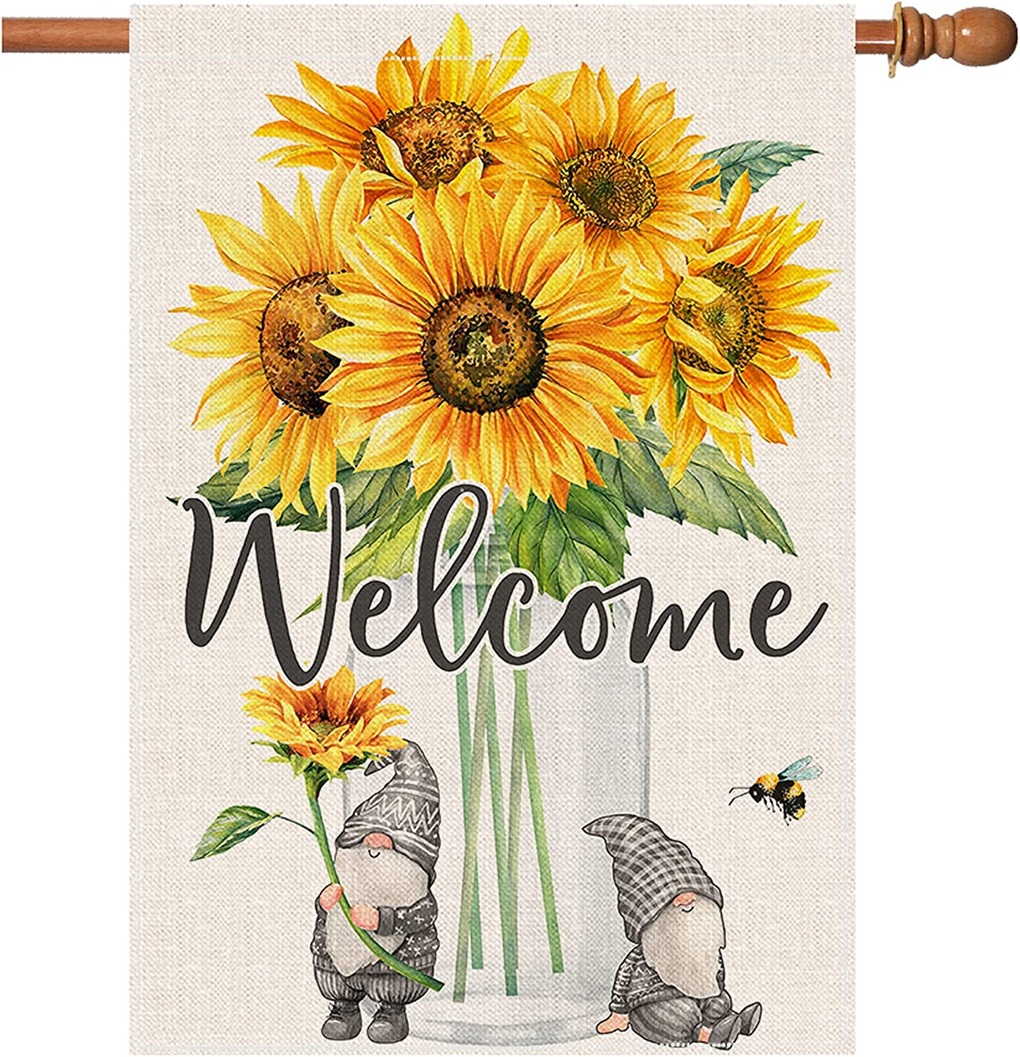 pinata Welcome Sunflower Garden Flag Large Summer Fall House Flag 28 X 40'' Double Sided, Burlap Gnome Sunflower Decor for Outdoor Yard Outside, Cute Yellow All Seasonal Flag Farmhouse Banner Sign
