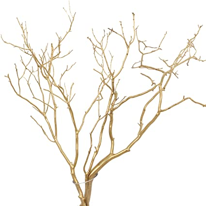 Awesome Green Floral Crafts Set Of 2 Real Manzanita Branches Painted Gold Approx 2 Ft Tall Size Varies Beutiful Home Inspiration Xortanetmahrainfo