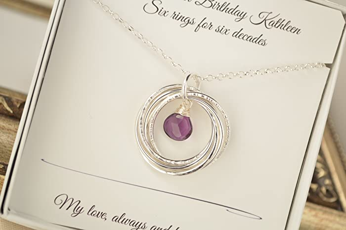 60th Birthday Gift For Mom Amethyst Birthstone Jewellery 6th Anniversary Her