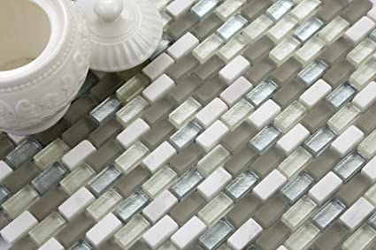 Mattonelle in vetro 10 cm x 10 cm con effetto mosaico e mattoni in