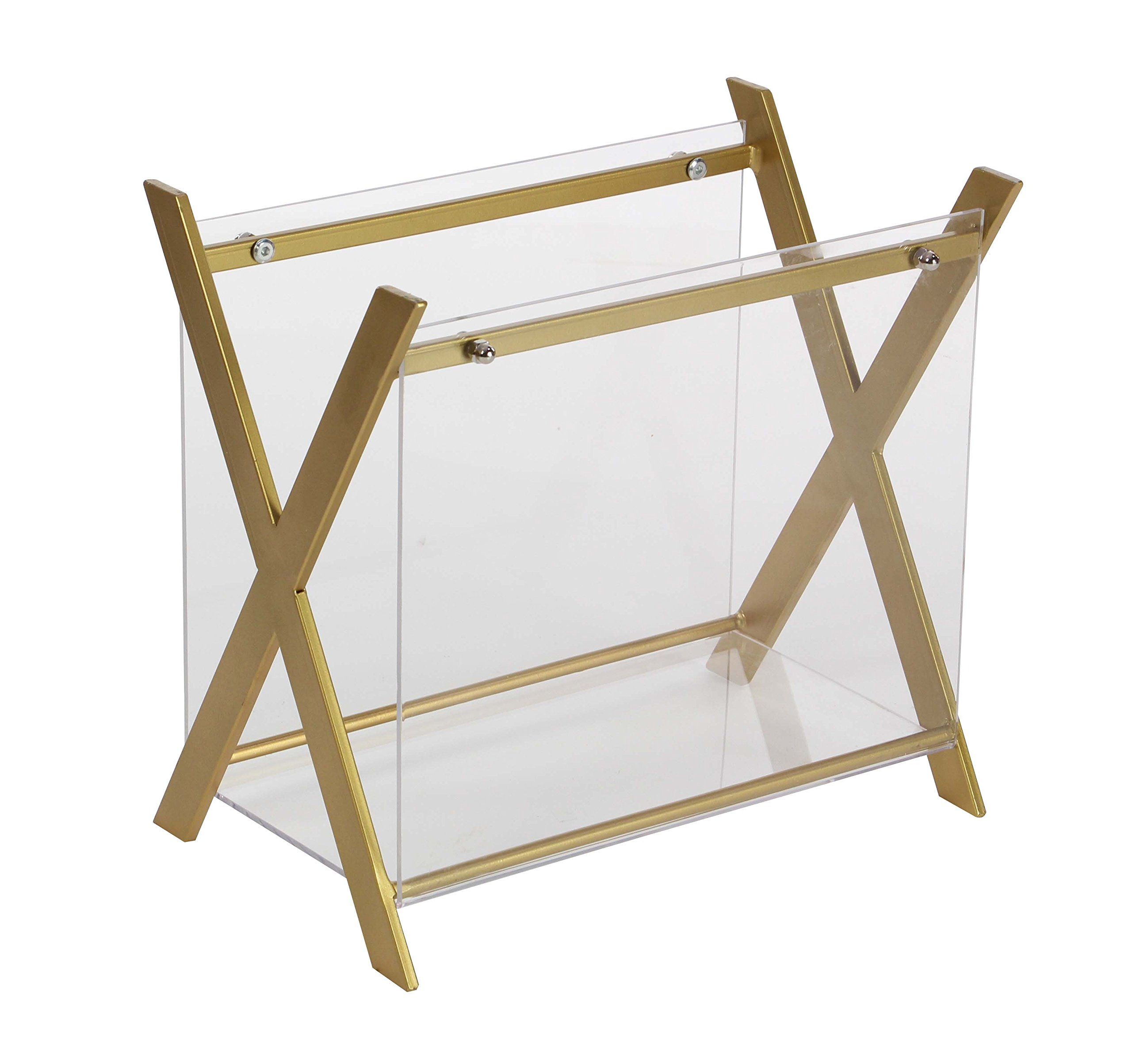 Deco 79 84392 Iron and Acrylic X-Shaped Magazine Holder, Gold/Clear