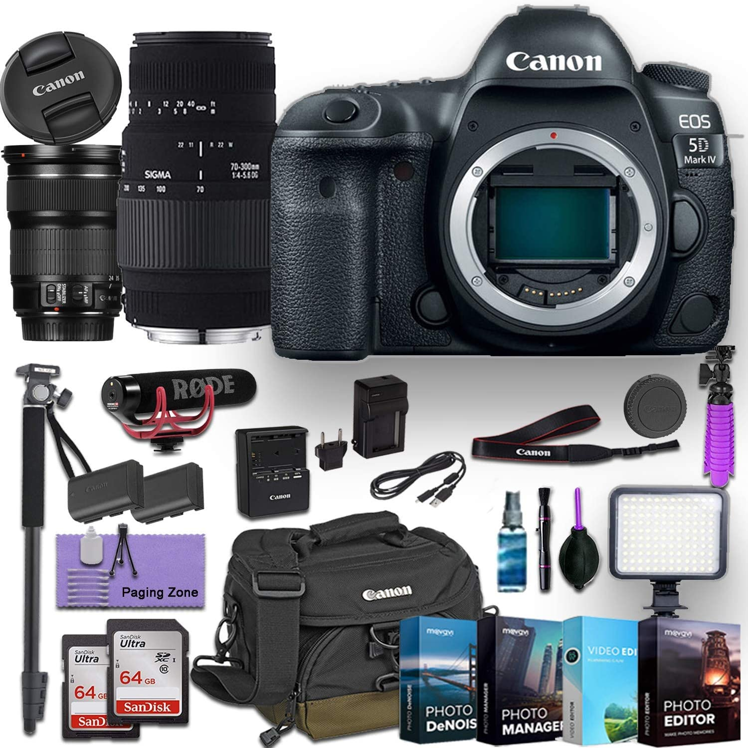 Canon EOS 5D Mark IV DSLR Camera w/EF 24-105mm f/3.5-5.6 is STM Lens and Sigma 70-300mm f/4-5.6 DG Macro Lens Bundled with Deluxe Accessories (Rode Microphone, 4-Pack Photo Editing Software and More)