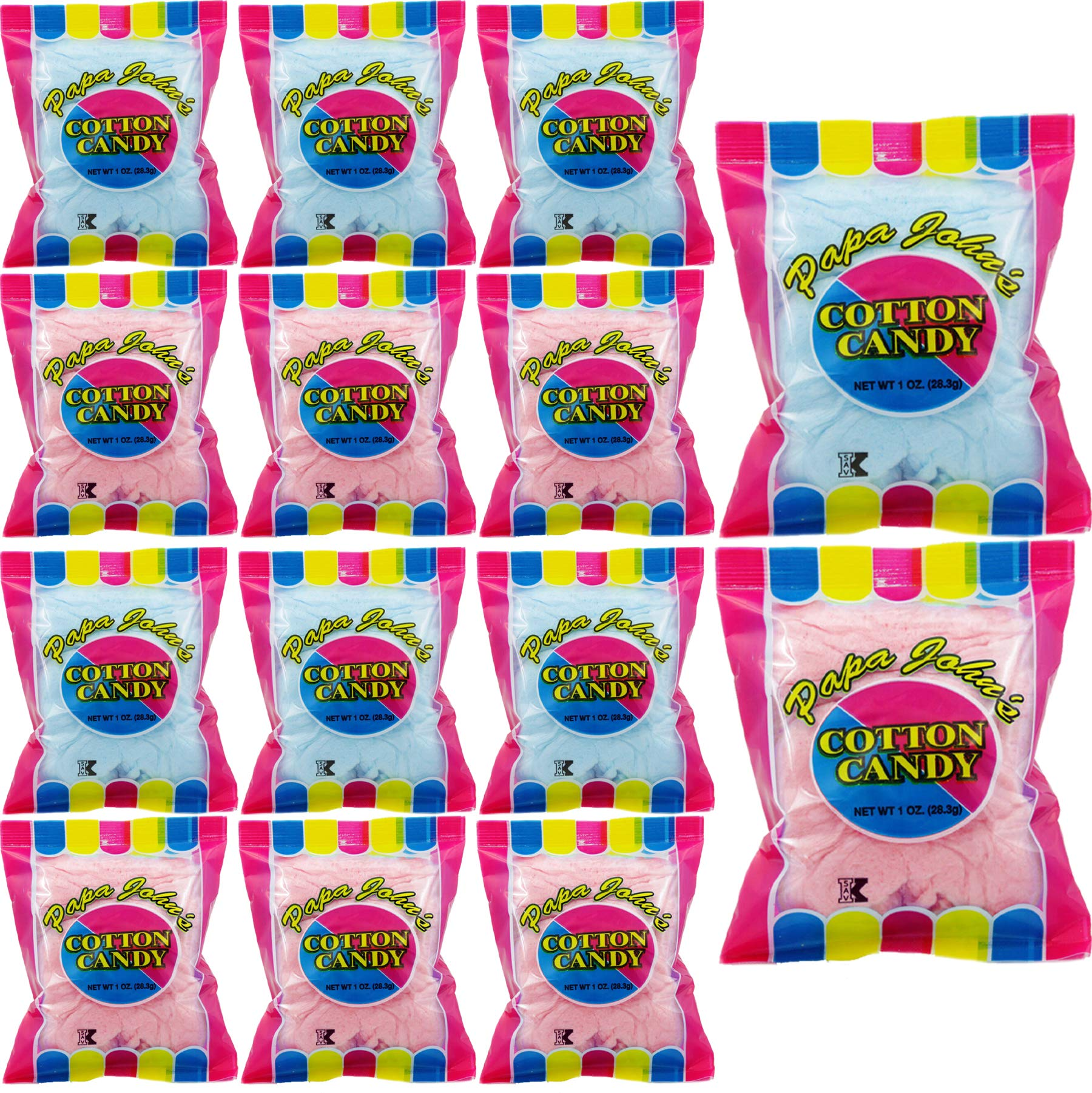 Papa John's Cotton Candy Blue and Pink Party Flavors Supplies Birthday Treats for Kids, Kosher, 1oz Bag (12-Pack) by Papa John's (Image #1)