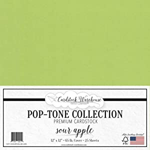 Sour Apple Green Cardstock Paper - 12 x 12 inch 65 lb. Premium Cover - 25 Sheets from Cardstock Warehouse