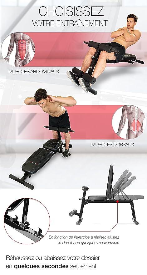 Sportstech BRT500 - Banco de musculación 8 en 1 con material de relleno EVA ergonómico (plegable, sistema de plegado inteligente, antideslizante, ...