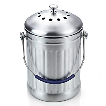 Cook N Home Stainless Steel Kitchen Compost Bin, 1 Gallon