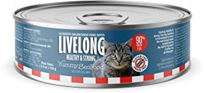 LIVELONG HEALTHY & STRONG Canned Cat Food - 5.5 oz Wet Cat Food – Premium Cat Food Can with Organic Vegetables – No Grain Recipe – Pack of 24 Dog Food Cans