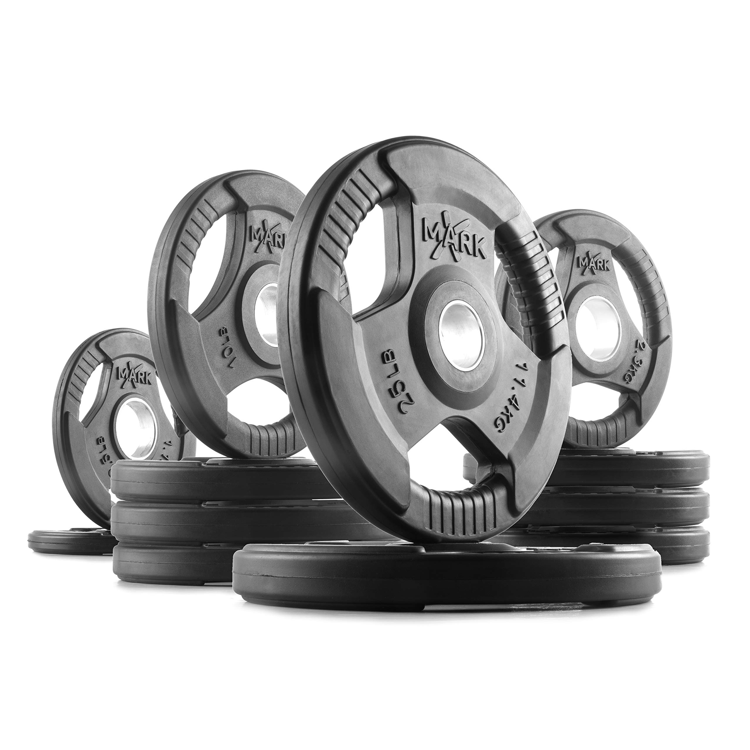 XMark TRI-Grip 115 lb Set Olympic Weights, Premium Rubber Coated Olympic Plates, One-Year Warranty by XMark Fitness (Image #1)