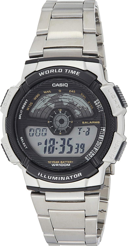 Casio AE-1100WD-1A - Reloj Digital de Cuarzo para Hombre, Correa de Acero Inoxidable Color Metalizado
