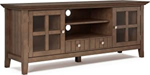 SIMPLIHOME Acadian SOLID WOOD Universal TV Media Stand, 60 inch Wide, Farmhouse Rustic, Storage Shelves and Cabinets, for Flat Screen TVs up to 70 inches, Rustic Natural Aged Brown