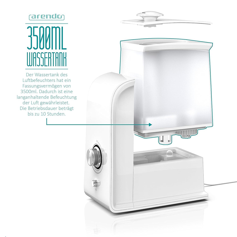 Arendo - Humidificador led de 3,5 litros con ionización, filtro de agua, humidificador/purificador de aire, tecnología ultrasónica, neutralización de olores ...