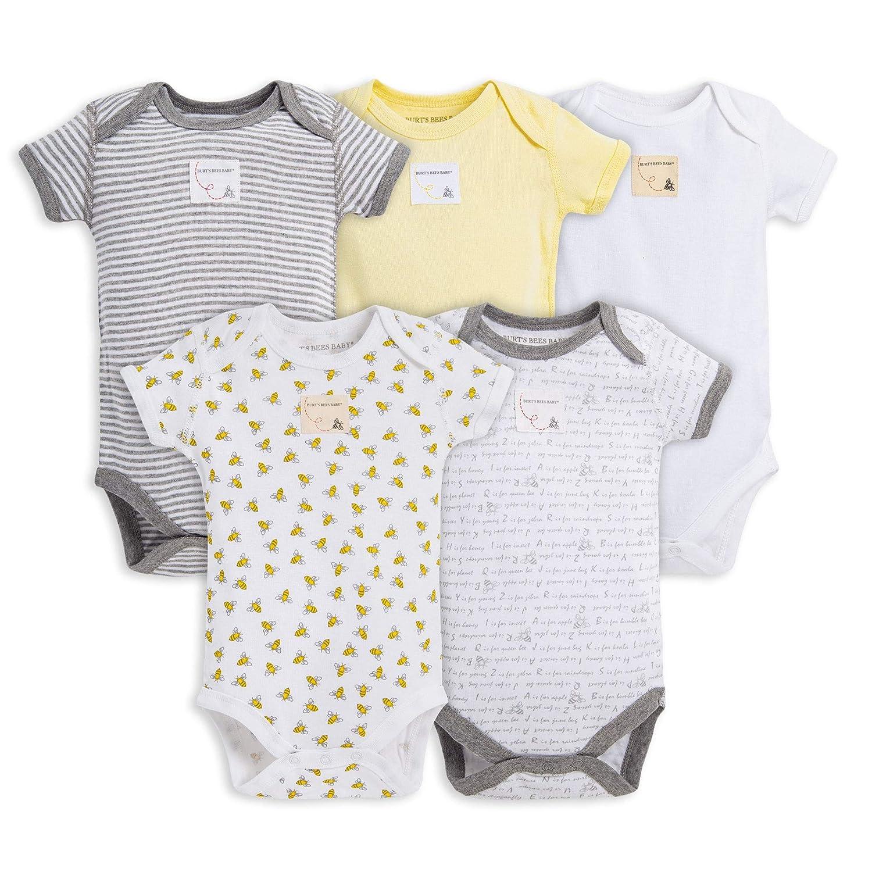 83d4e1253 Amazon.com: Burt's Bees Baby - Unisex Baby Bodysuits, 5-Pack Long & Short- Sleeve One-Piece Bodysuits, Organic Cotton: Clothing