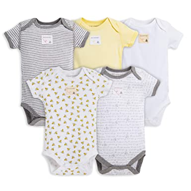 29b86ceb8 Burt's Bees Baby Set of 5 Short Sleeve Bodysuits, Bee Essentials 100%  Organic Cotton