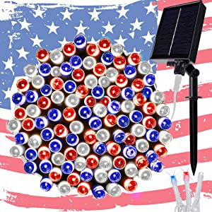 Twinkle Star Solar String Lights, 98FT 300 LED 8 Modes Solar Powered July 4th Patriotic White Wire Light Waterproof, Outdoor Indoor for Independence Day Garden Patio Yard Holiday Party, Red/Blue/White