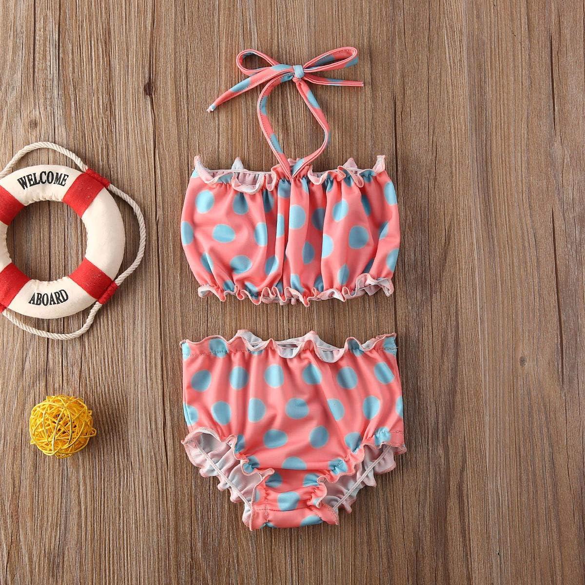 1-5Y Toddler Kids Baby Girl Swimsuit Polka Dot Halter Bikini Top Bottoms 2 Pieces Bathing Suit Beachwear