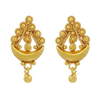 4b07536e0 Buy Memoir Gold plated Moon and Star design, Small and stylish, stud earring  Women Girls Traditional Fashion Online at Low Prices in India | Amazon ...