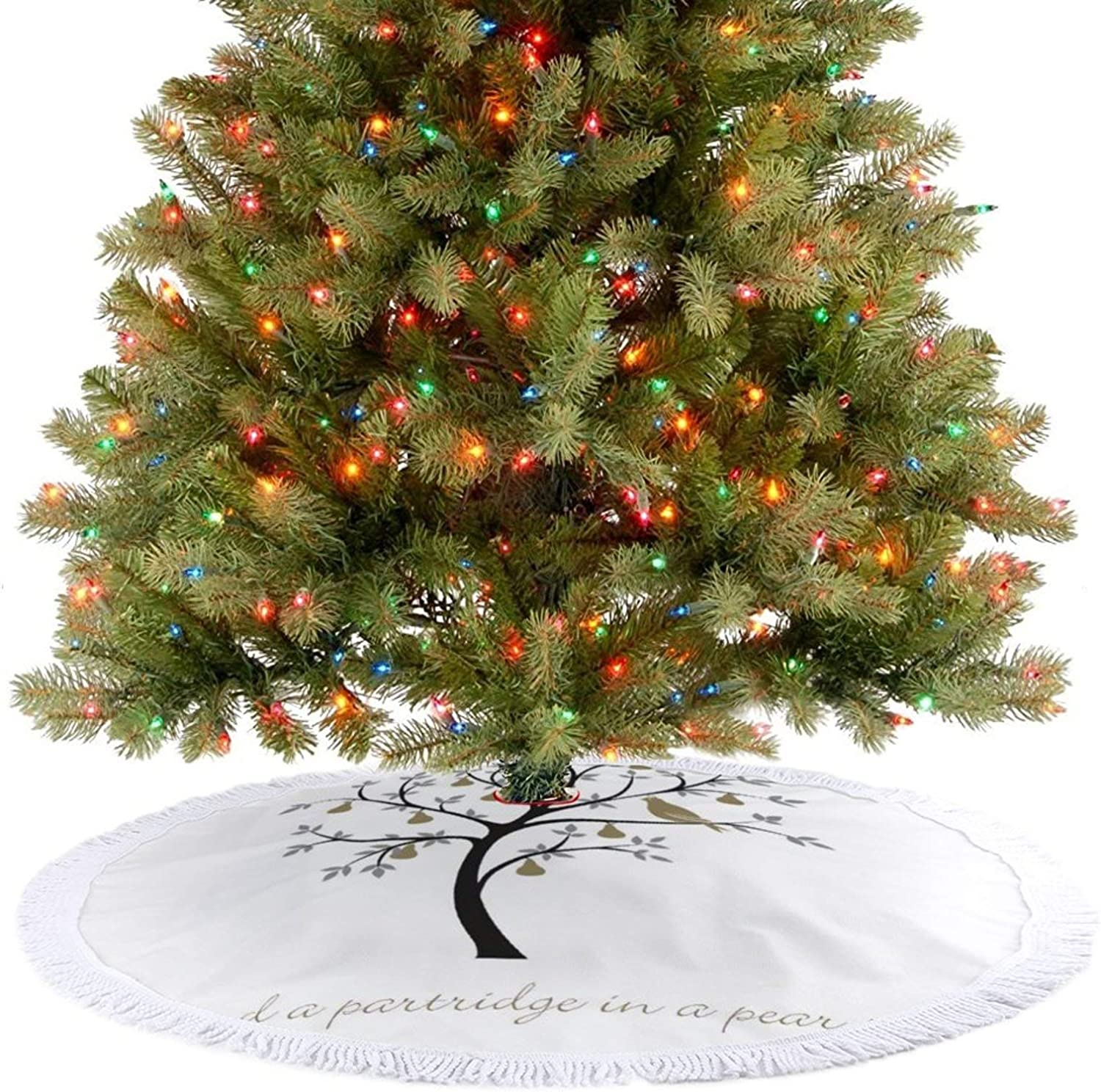 Amidaky and A Partridge in A Pear Tree Christmas Tree Skirt for Christmas Holiday Party Decoration Indoor and Outdoor 48''×48''