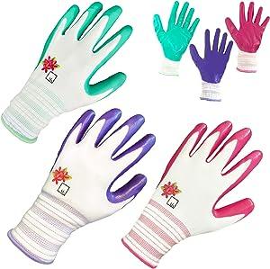 Gardening Gloves for Women Gardening Gifts for Women Garden Gloves Womens Gardening Gloves Nitrile Coated Womens Work Gloves Women Garden Tools Womens Garden Gloves Working Gloves Guantes ArtAK 3 Pair