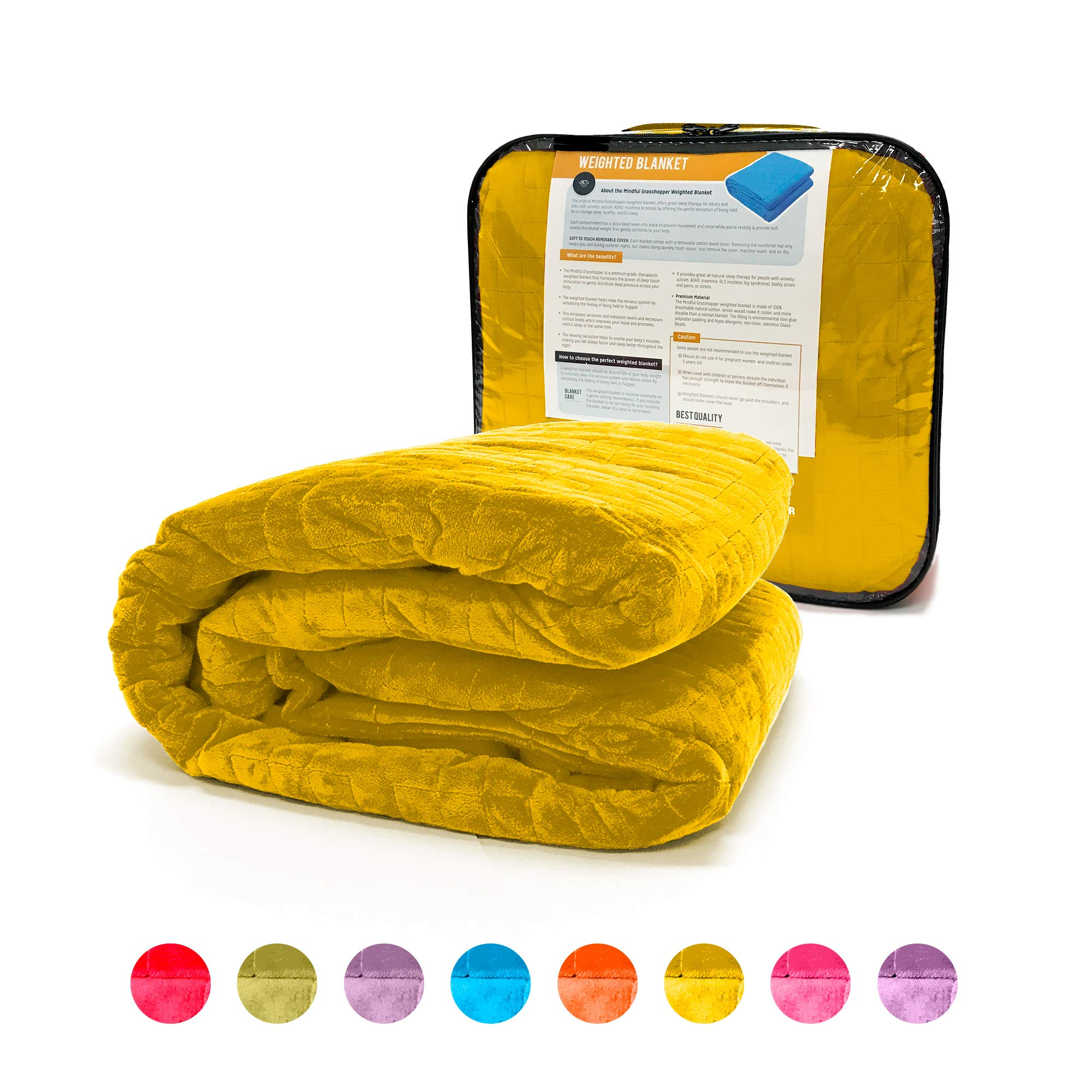 Weighted Blanket for Kids 10 lb, Cool Heavy Blanket for Children 70-100 lbs, Soft Yellow Duvet Cover, Premium Cotton with Glass Beads, Perfect for Boys and Girls, Sensory Blankets, Size 41x60in.