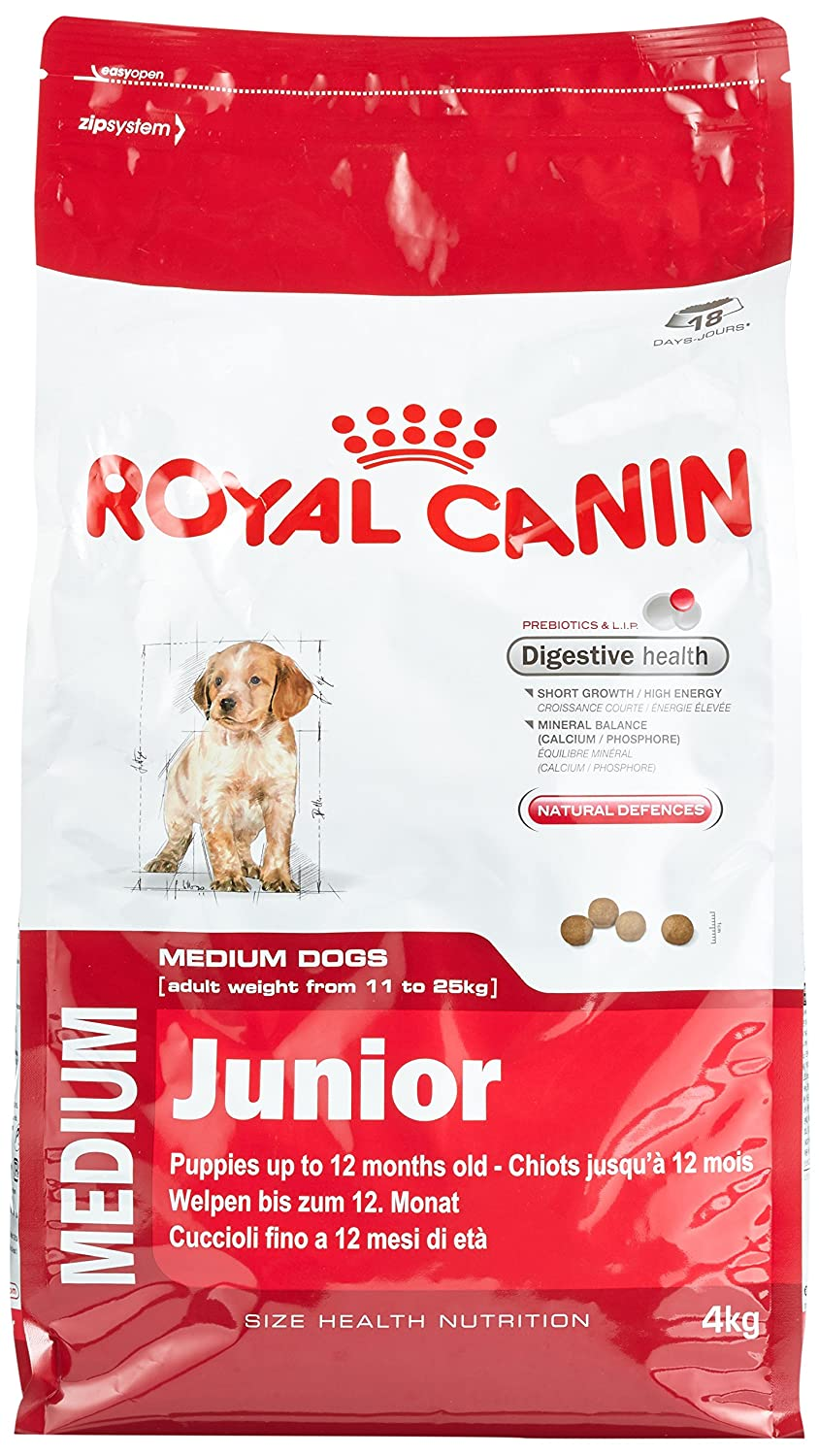 royal canin junior medium dog food diets support nutrition natural health 4 kg. Black Bedroom Furniture Sets. Home Design Ideas