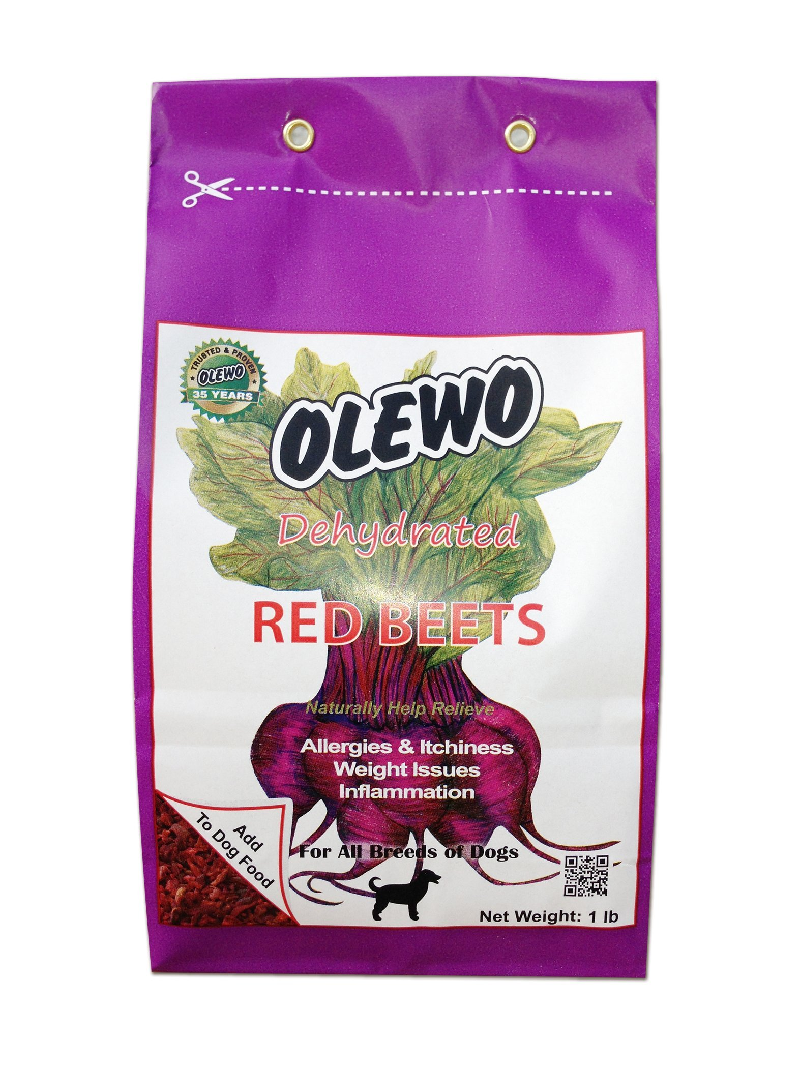 Olewo Dehydrated Red Beets Dog Food Supplement, Trial Size, 1.0-Pound