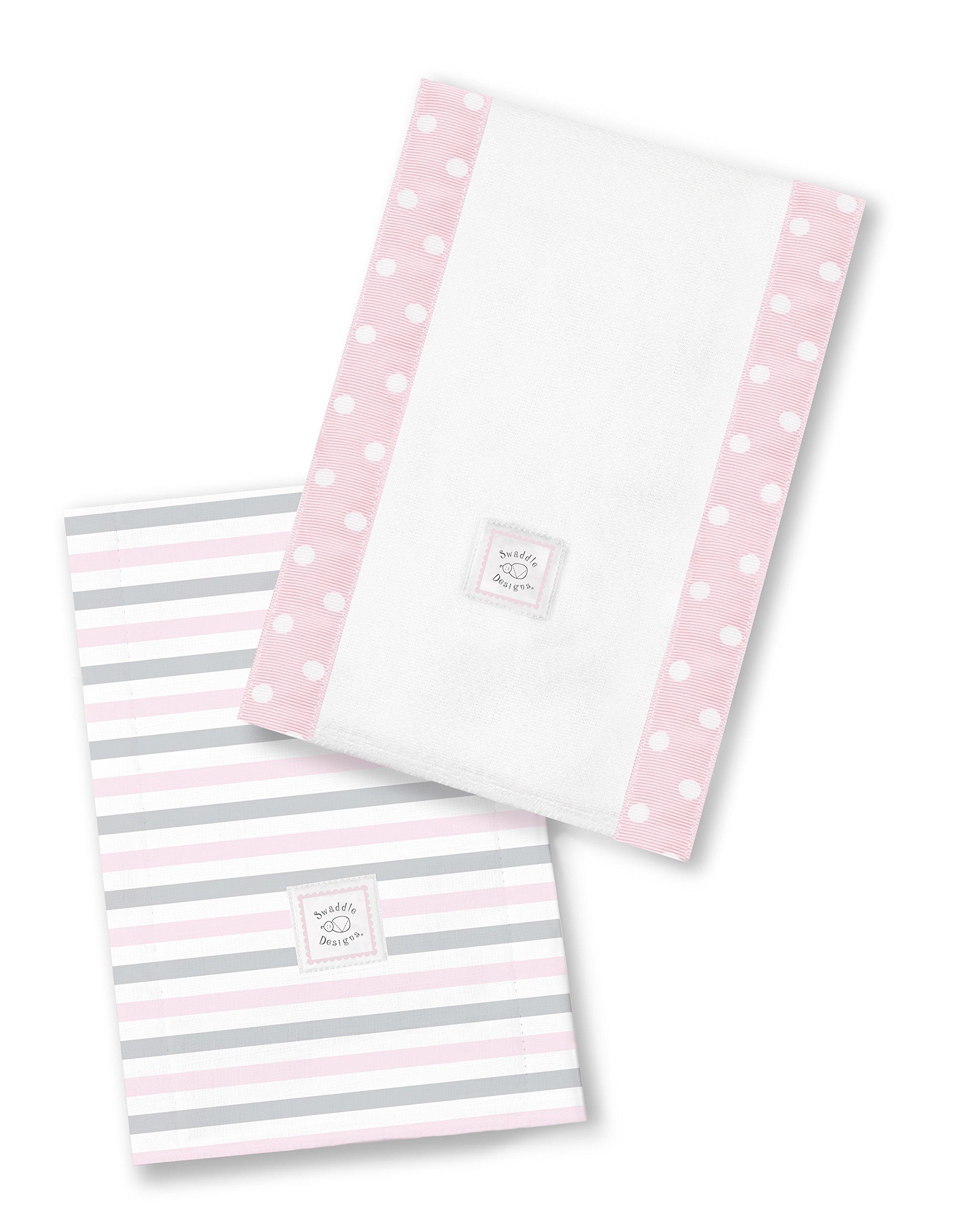 SwaddleDesigns Baby Burpies, Set of 2 Cotton Burp Cloths, Pastel Pink Simple Stripes