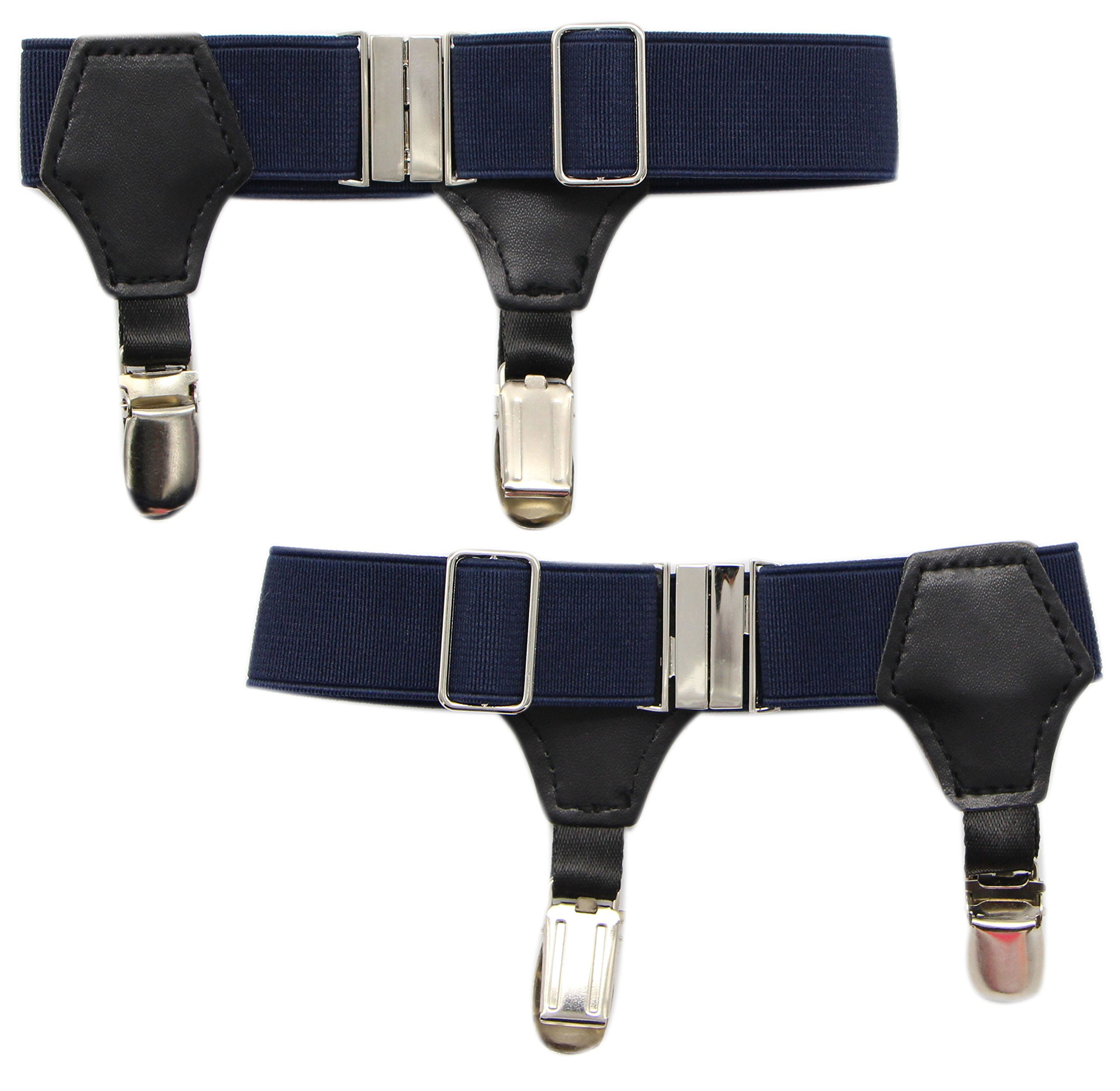 JAIFEI High-End Sock Garters- Premium 1-Pair Double Sturdy Clip Sock Suspenders For Cotton & Silk Socks (Navy)