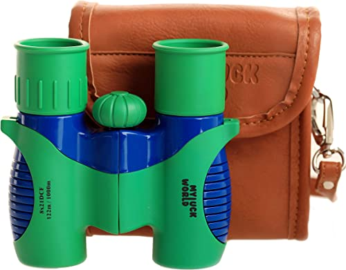 Binoculars for Kids 8×21 High-Resolution Shock-Proof Real Optics – Pu-Leather Crossbody Bag – for Bird Watching Outdoor Camping Hunting Hiking Star Gazing – Best Gift for Children- Present Green