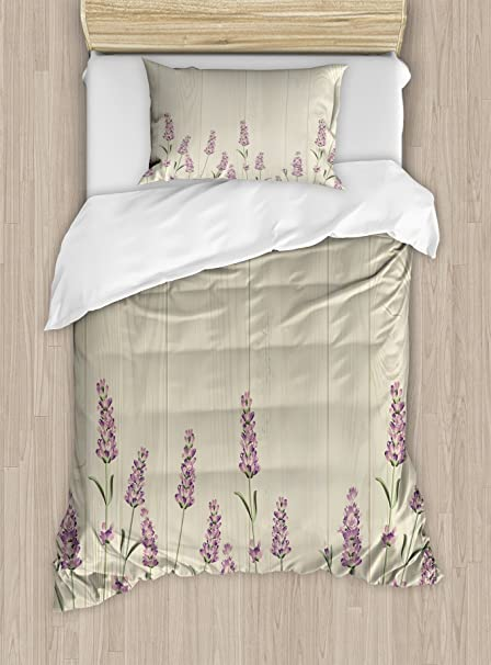 c12c6602 Ambesonne Lavender Duvet Cover Set Twin Size, Aromatic Herbs on Wooden  Planks Springtime Nature Botany