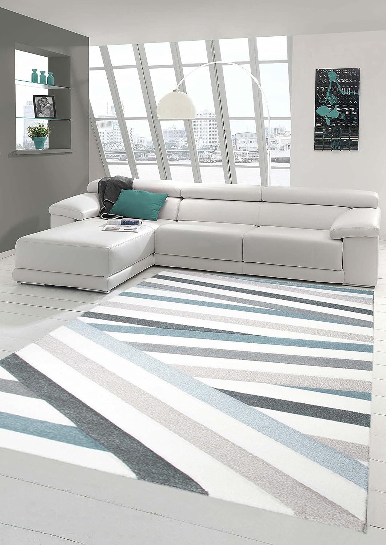 Traum Sala de Estar diseñador Alfombra Alfombra contemporánea alfombras de Pelo bajo con Corte de Contorno de Rayas de Colores Pastel Azul Crema Beige Größe 200 x 290 cm