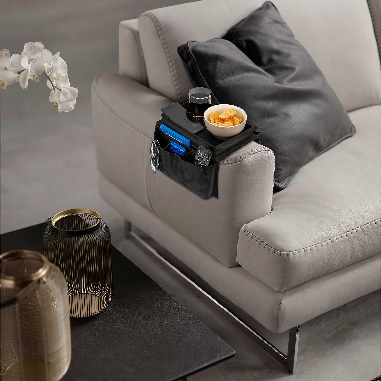 iN Home - Organizador de reposabrazos con Mesa para sofás – Organizador de sofá con Mando a Distancia – 6 Bolsillos reposabrazos Organizador – ...