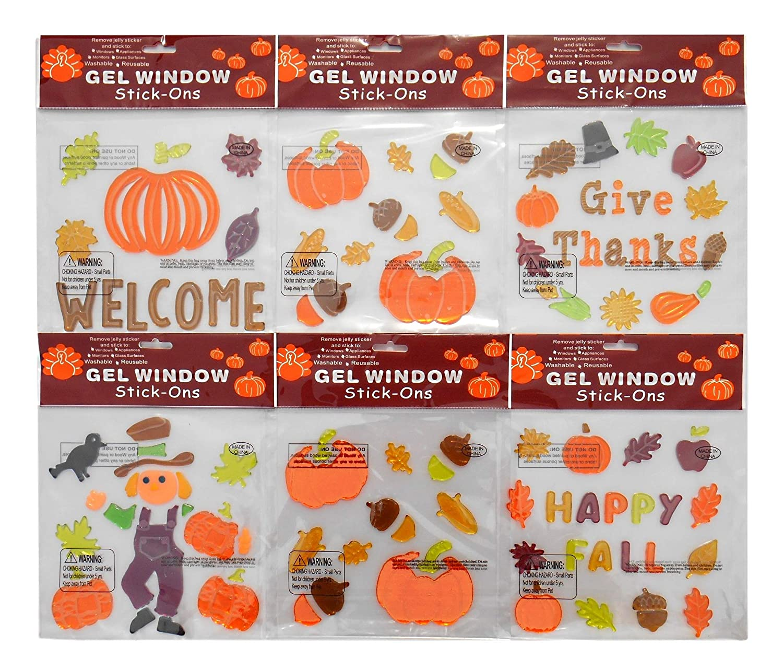 THANKSGIVING Window Gel  GIVE THANKS   W//PUMPKINS /& ACORNS