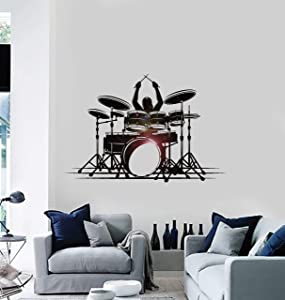 Large Vinyl Wall Decal Drummer Music Drum Musical Art Rock Pop Stickers Large Decor (ig4641) Black 22.5 in X 34 in