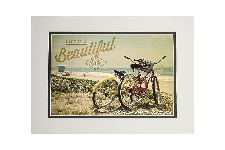 ニューポートビーチ、カリフォルニア – Life Is A Beautiful Ride – Bicyclesとビーチシーン – Photograph 11 x 14 Matted Art Print LANT-53562-11x14M 11 x 14 Matted Art Print  B06XZP6H9W