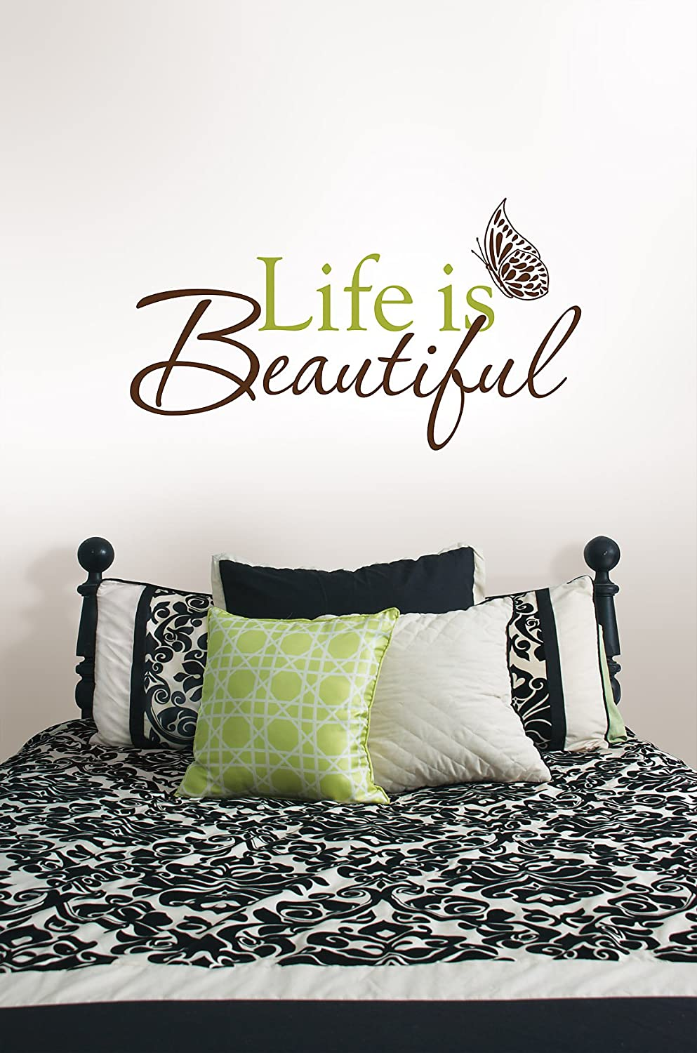 Exceptionnel Wall Pops WPQ96853 Peel U0026 Stick Life Is Beautiful Quotes Wall Decals 24.5  In X 13.5 In   Decorative Wall Appliques   Amazon.com