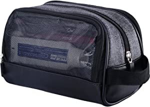 WOWBOX Travel Kit Toiletry Bag for Men Waterproof Cosmetic Makeup Shower Bag Shaving Dopp Kit Case Accessories Organizer with Side Hand Strap