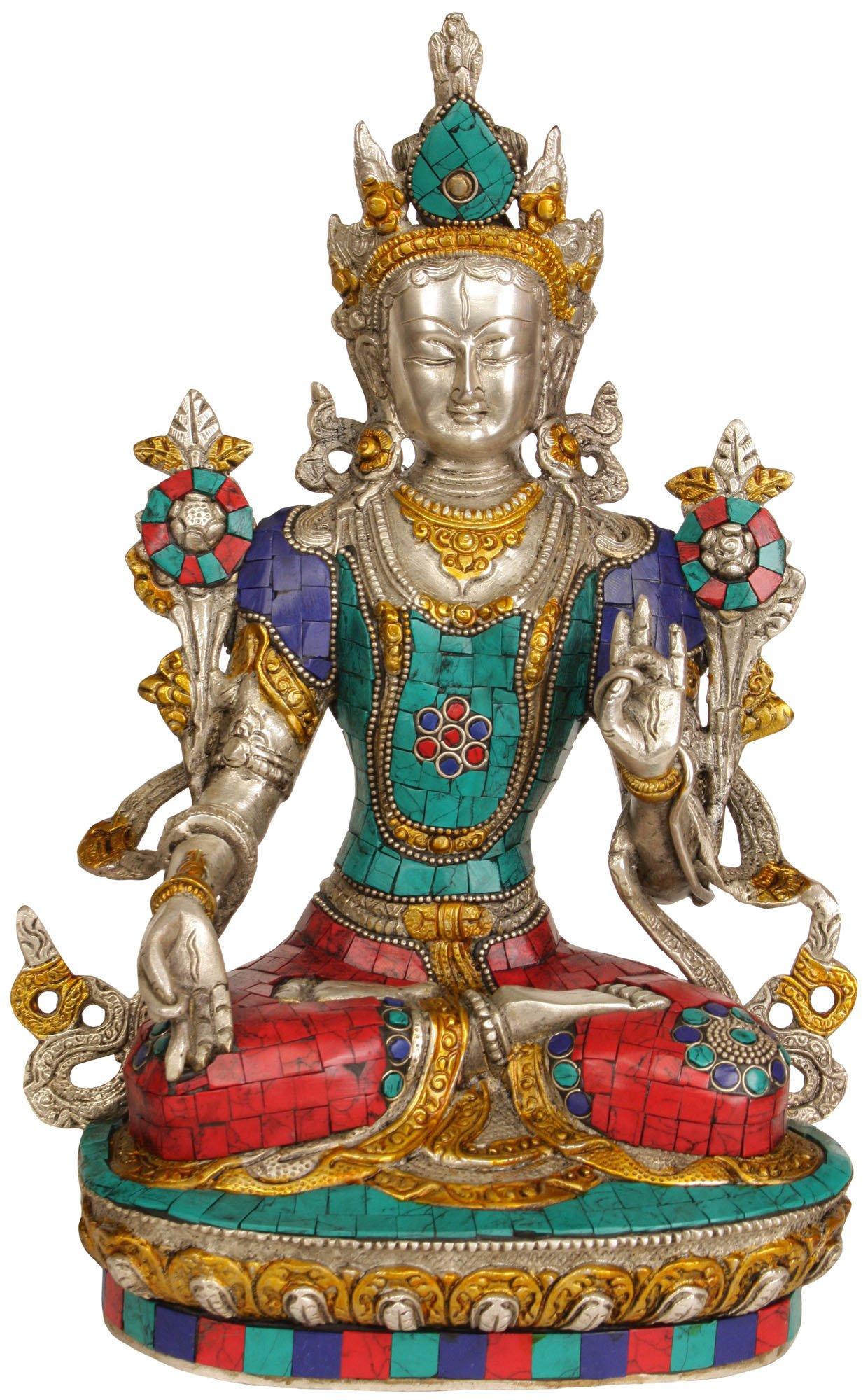 White Tara - Brass Statue With Inlay