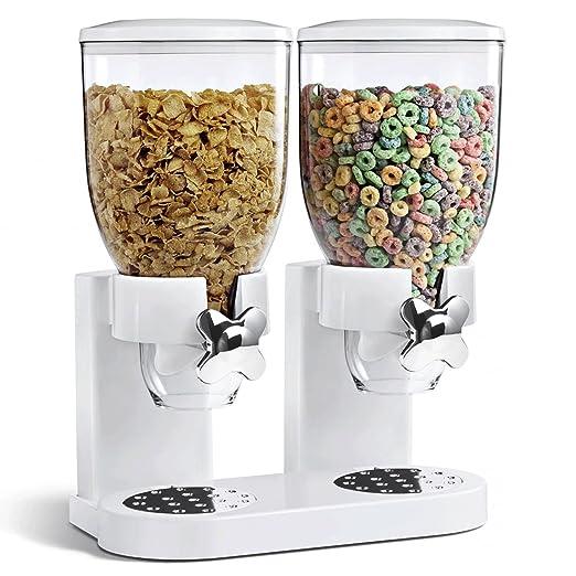 Asab - Doble dispensador de cereales, recipiente de almacenamiento de alimentos secos, para encimera, con válvula de liberación por giro: Amazon.es: Hogar