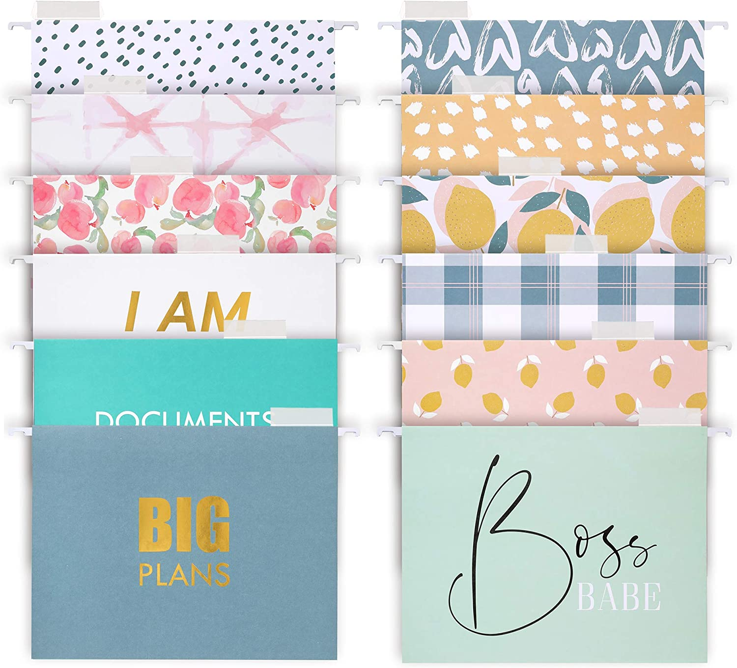 Decorative Hanging File Folders - 5 Letter Size Reinforced Colored Hang  Folders, 5/5-Cut Adjustable Tabs - Cute Designs and Gold foil Font, Office