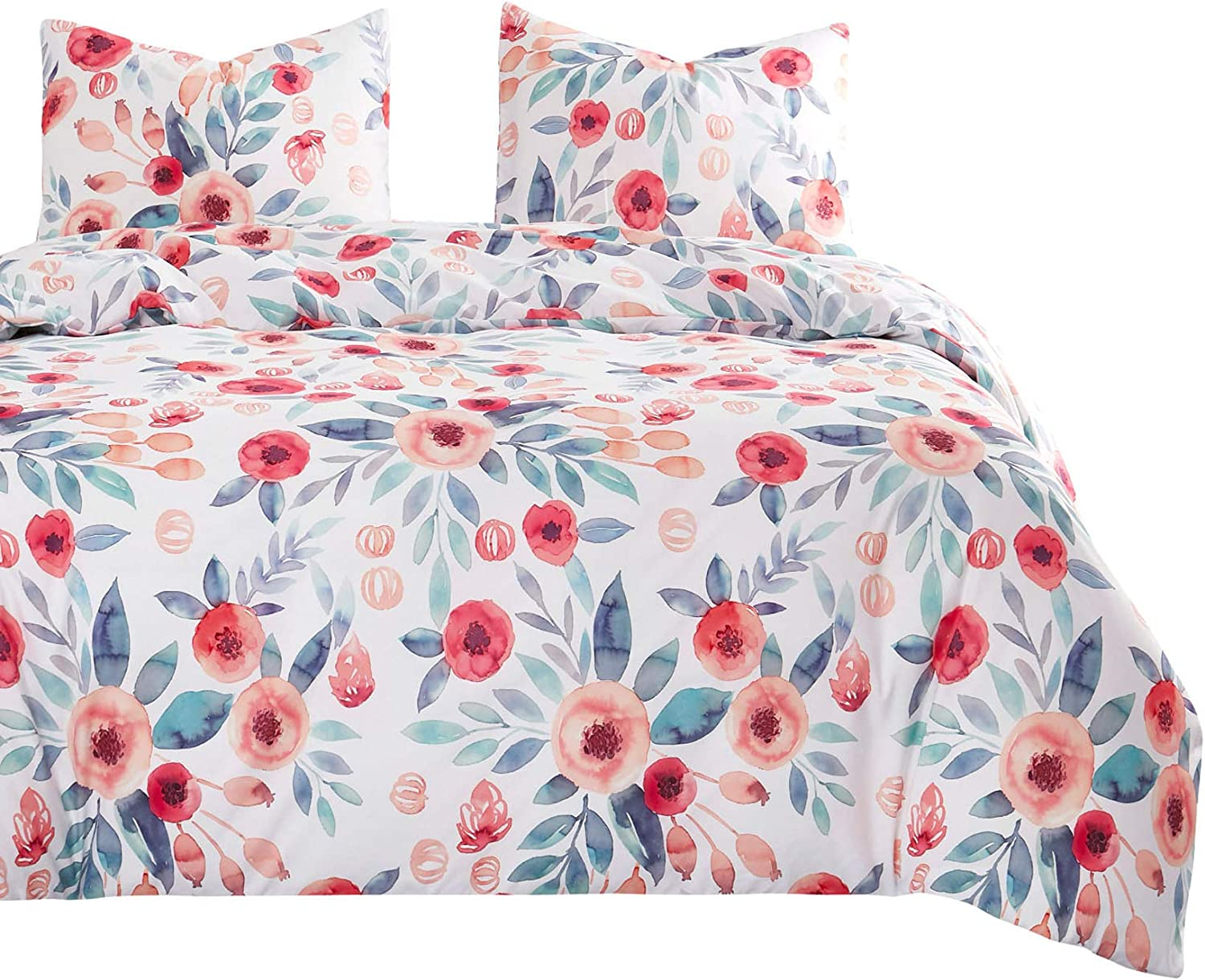 Wake In Cloud - Floral Comforter Set, Flowers Leaves Botanical Plant Pattern Printed on White, Soft Microfiber Bedding (3pcs, Queen Size)