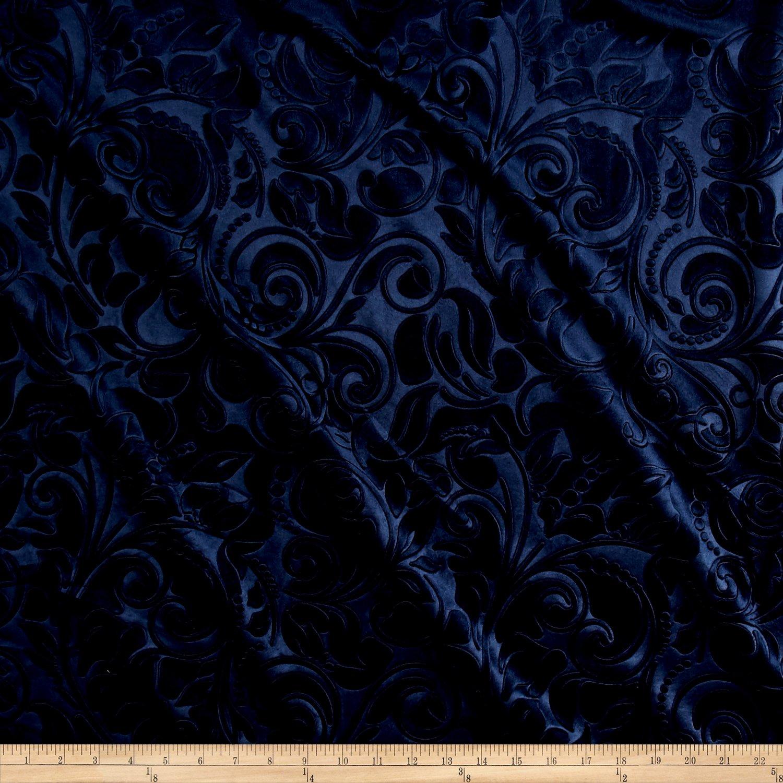 Unique Quality Fabrics Embossed Velvet Scroll Navy