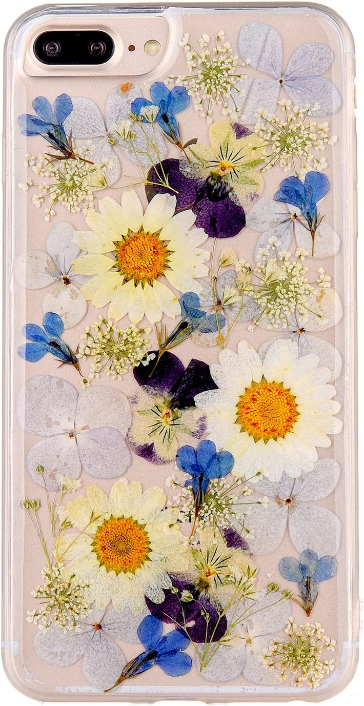 Pretty Flower Case for iPhone 7 Plus, TIPFLY iPhone 8 Plus Real Pressed Dry Flowers Cover, Slim Cute Clear Flexible Rubber Shell Protective for iPhone 7 Plus/8 Plus(Real Flower 7)