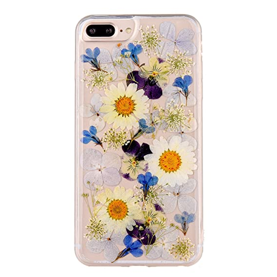 various colors ee418 11e22 Pretty Flower Case for iPhone 7 Plus, TIPFLY iPhone 8 Plus Real Pressed Dry  Flowers Cover, Slim Cute Clear Flexible Rubber Shell Protective for iPhone  ...