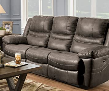 Captivating Mason 90 Inch Three Seat Dual Reclining Sofa (Ash)