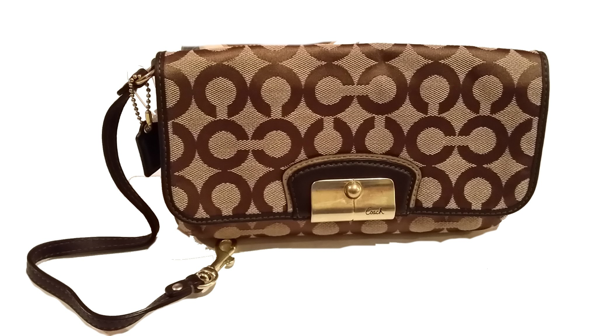 Coach Kristin Signature C Op Art Large Wristlet Style 43734 Khaki by Coach