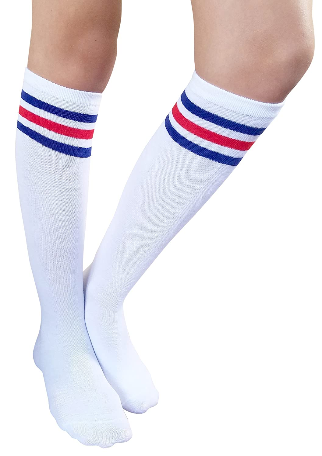 AM Landen Stripe Women's Casual Knee High Tube Socks Triple Stripe Crew Mid-Calf Socks