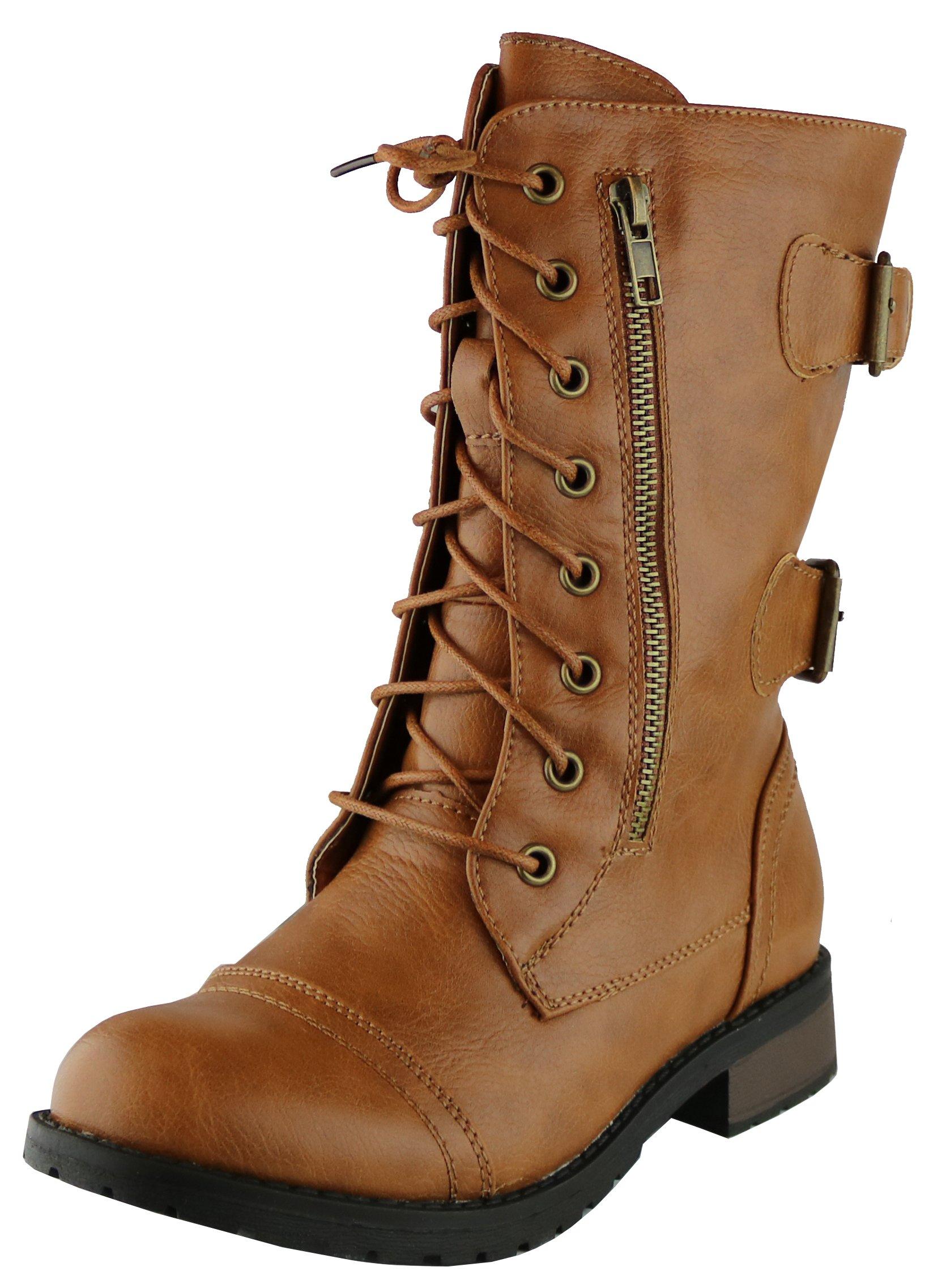 Cambridge Select Women's Combat Military Zipper Buckle Mid-Calf Boot (7.5 B(M) US, Camel)